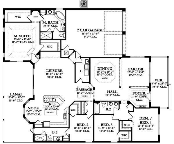 Ranch Floor Plan - Main Floor Plan Plan #1058-165