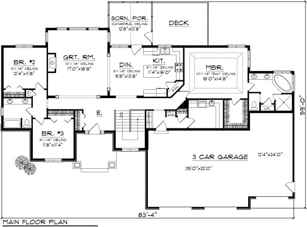 Ranch Floor Plan - Main Floor Plan Plan #70-1118