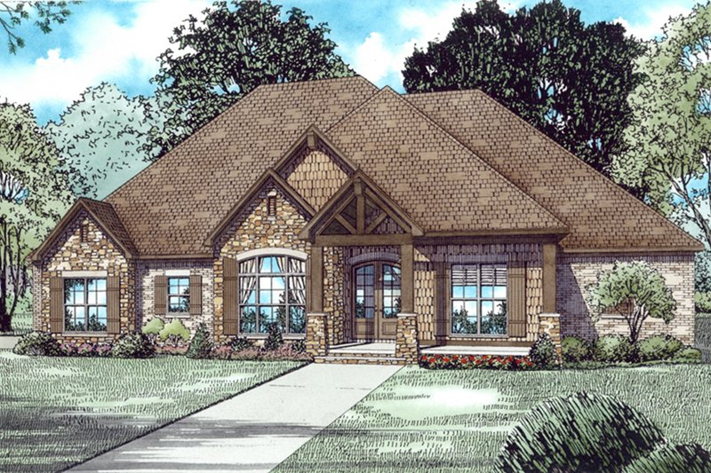 Dream House Plan - European,Craftsman, Front Elevation,
