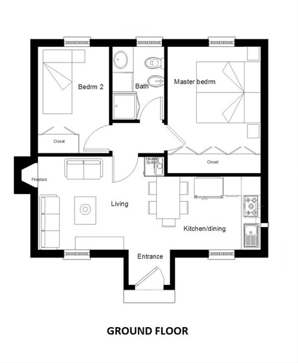 European Style House Plan - 2 Beds 1 Baths 566 Sq/Ft Plan #542-5 Floor Plan - Main Floor Plan
