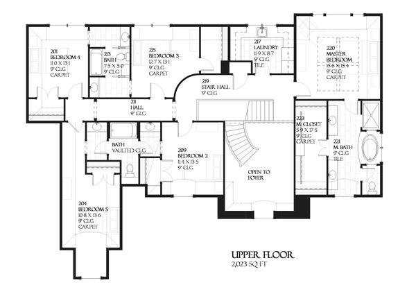 European style house plan, upper level floor plan