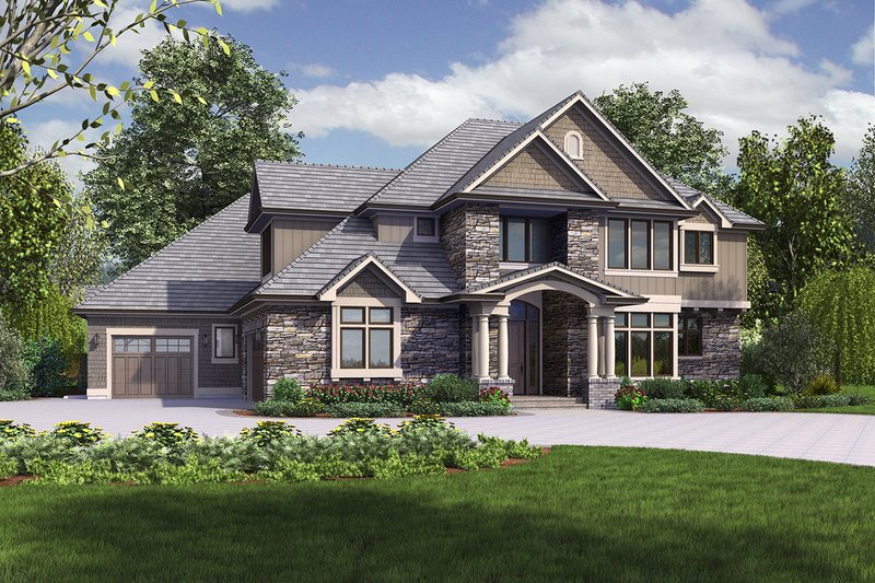 Architectural House Design - Craftsman Exterior - Front Elevation Plan #48-973