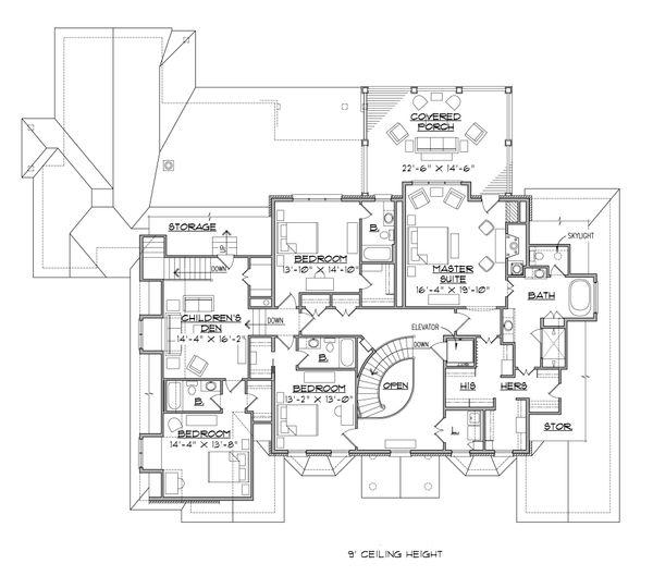 Traditional Floor Plan - Upper Floor Plan Plan #1054-22