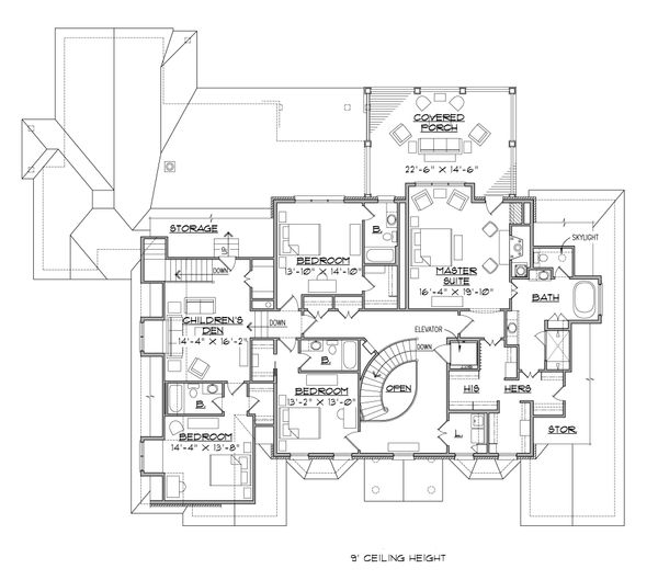 Traditional Floor Plan - Upper Floor Plan Plan #1054-22