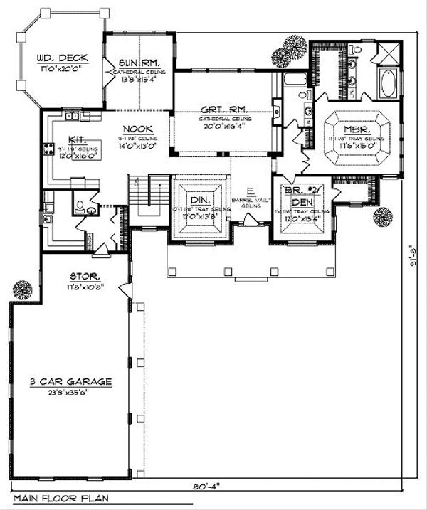 Dream House Plan - Traditional Floor Plan - Main Floor Plan #70-879