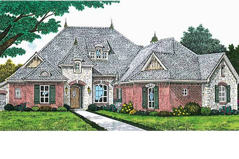 European Style House Plan - 3 Beds 2.5 Baths 2205 Sq/Ft Plan #310-699 Exterior - Front Elevation