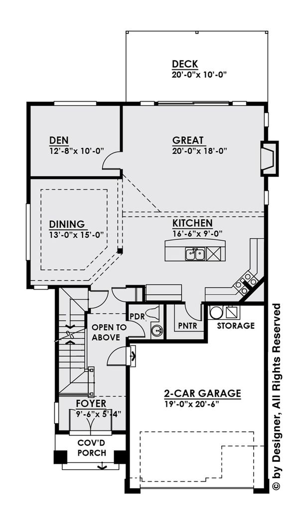 Contemporary Floor Plan - Main Floor Plan Plan #1066-5