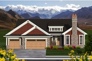 Ranch Exterior - Front Elevation Plan #70-1196