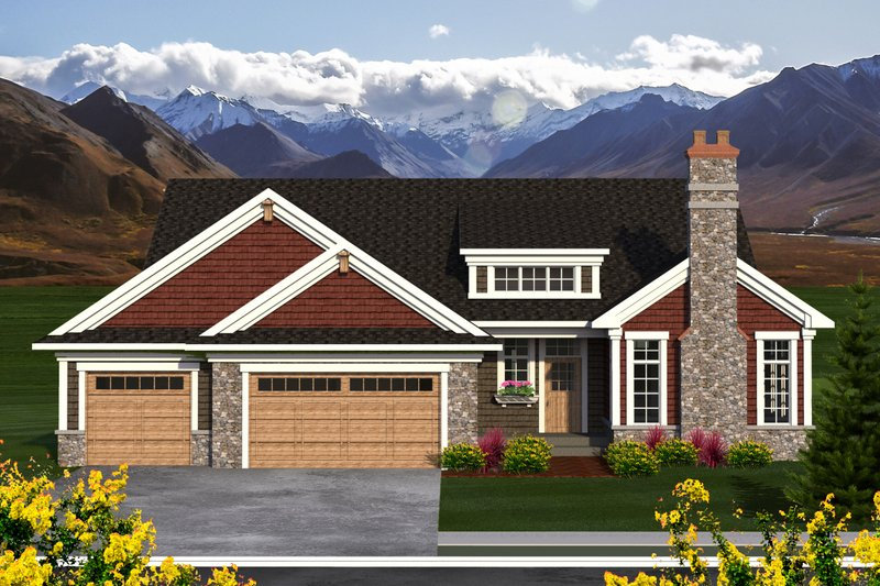 Ranch Style House Plan - 3 Beds 2.5 Baths 2123 Sq/Ft Plan #70-1196 Exterior - Front Elevation