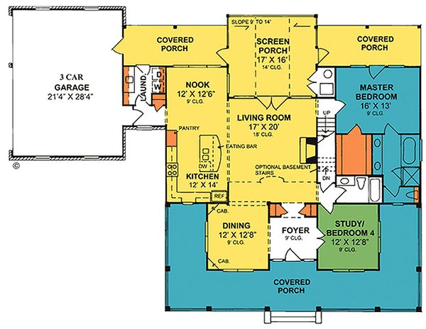 Country Floor Plan - Main Floor Plan Plan #20-2041