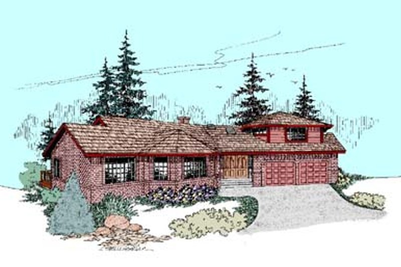 Traditional Style House Plan - 4 Beds 2 Baths 3421 Sq/Ft Plan #60-435 Exterior - Front Elevation