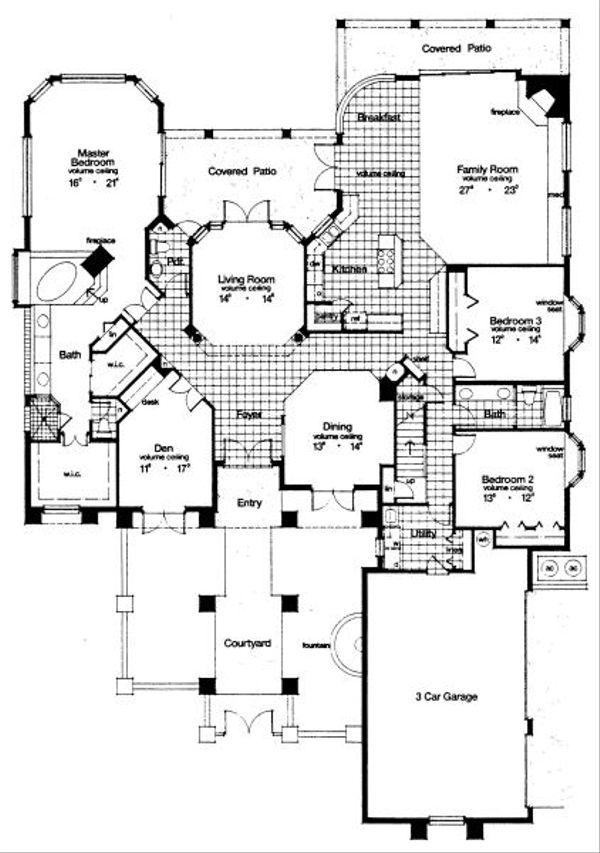 European Floor Plan - Main Floor Plan Plan #417-421