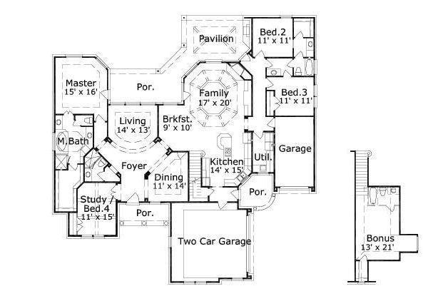 European Floor Plan - Main Floor Plan Plan #411-476