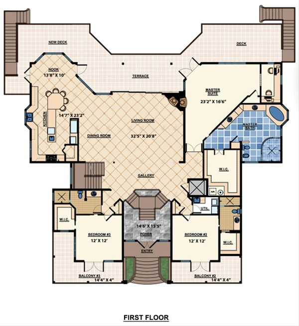 Beach Floor Plan - Main Floor Plan Plan #548-10