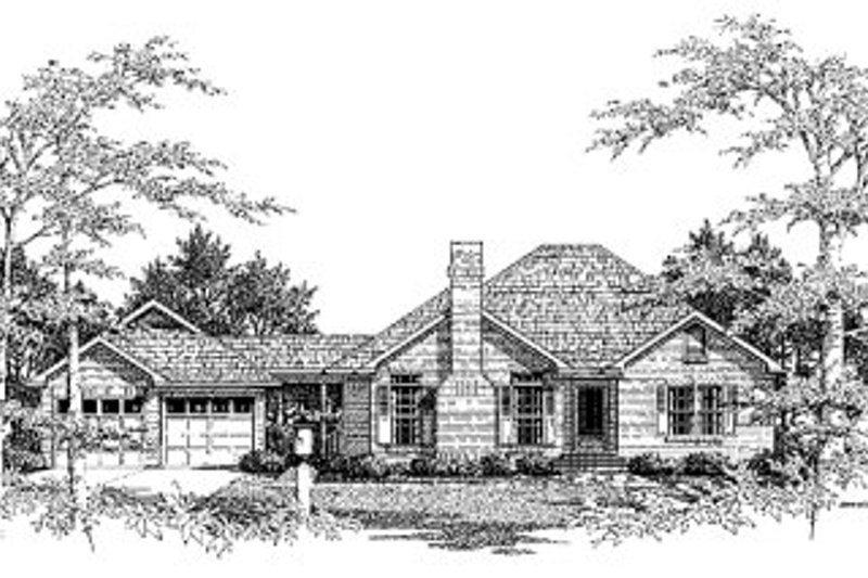 Traditional Style House Plan - 3 Beds 2 Baths 1562 Sq/Ft Plan #41-117 Exterior - Front Elevation