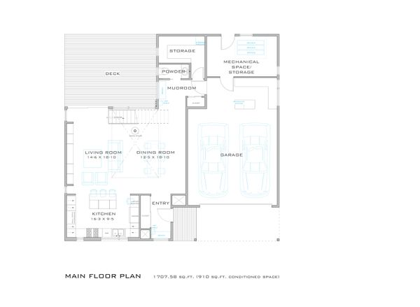 Modern style House plan, main level floor plan
