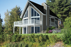Cabin Exterior - Front Elevation Plan #25-4586