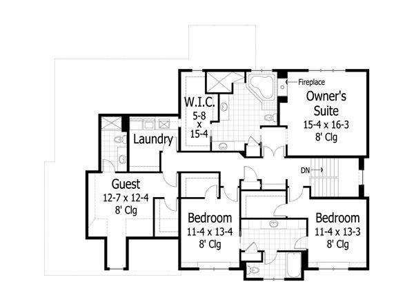 Craftsman Floor Plan - Upper Floor Plan Plan #51-455