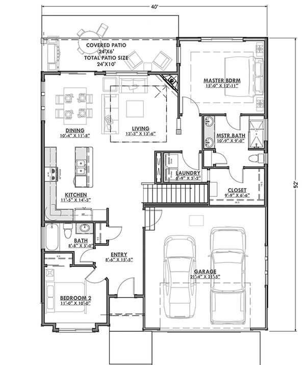 Craftsman Floor Plan - Main Floor Plan Plan #1069-15