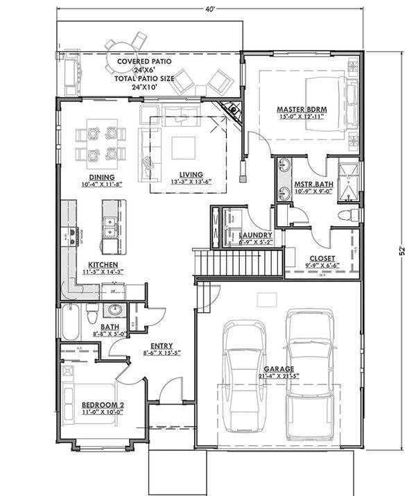 Craftsman Floor Plan - Main Floor Plan #1069-15