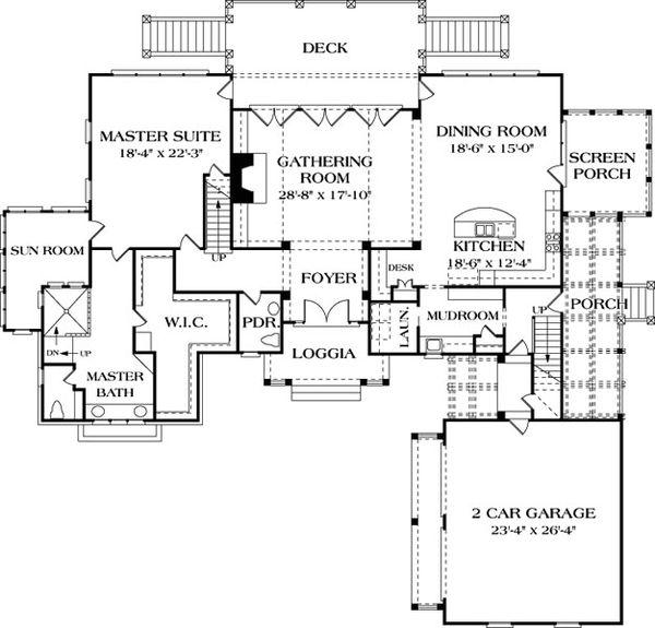 Craftsman Floor Plan - Main Floor Plan Plan #453-19