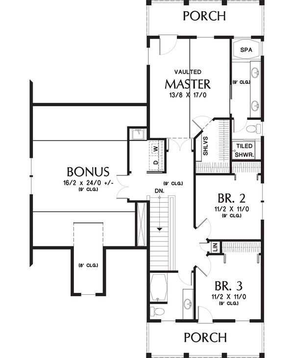 Colonial Floor Plan - Upper Floor Plan Plan #48-648