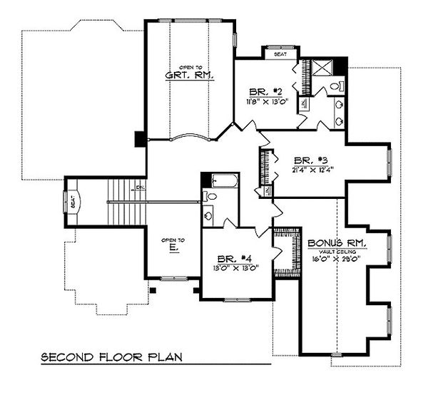 European Floor Plan - Upper Floor Plan Plan #70-546