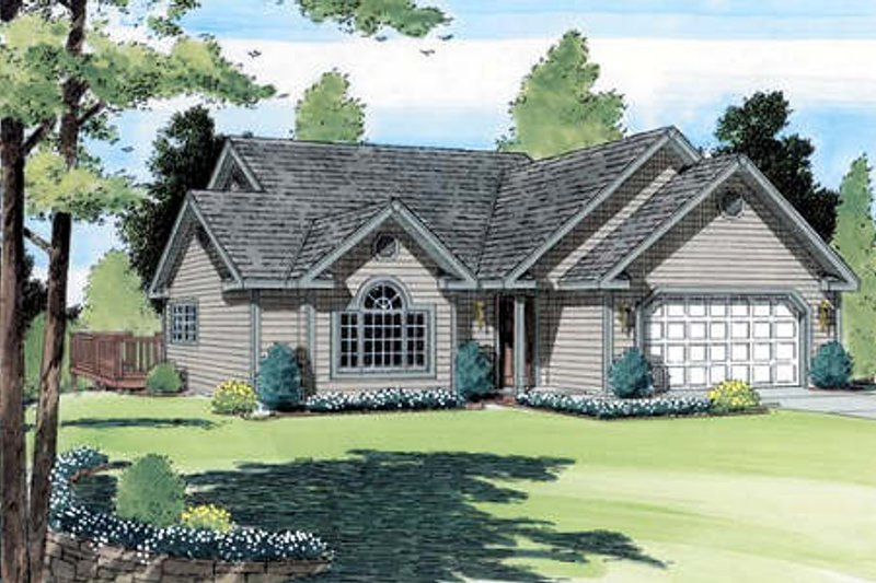 Traditional Style House Plan - 3 Beds 2 Baths 1346 Sq/Ft Plan #312-549 Exterior - Front Elevation