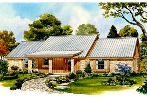Ranch Exterior - Front Elevation Plan #140-134