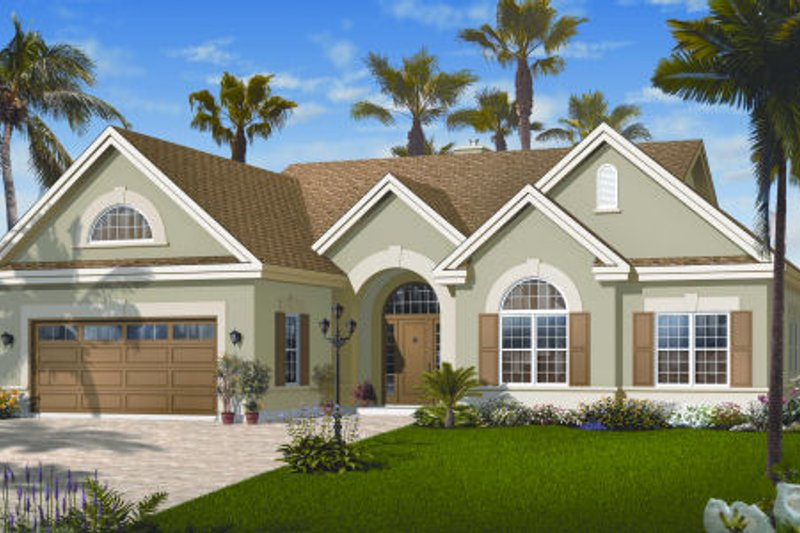 Mediterranean Style House Plan - 3 Beds 2 Baths 1816 Sq/Ft Plan #23-2213 Exterior - Front Elevation