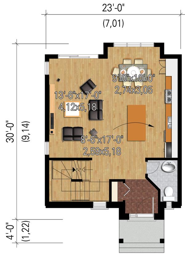 Contemporary Floor Plan - Main Floor Plan Plan #25-4434