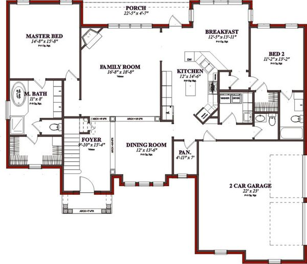 Traditional Floor Plan - Main Floor Plan Plan #63-206