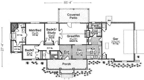 Architectural House Design - Ranch Floor Plan - Main Floor Plan #310-603