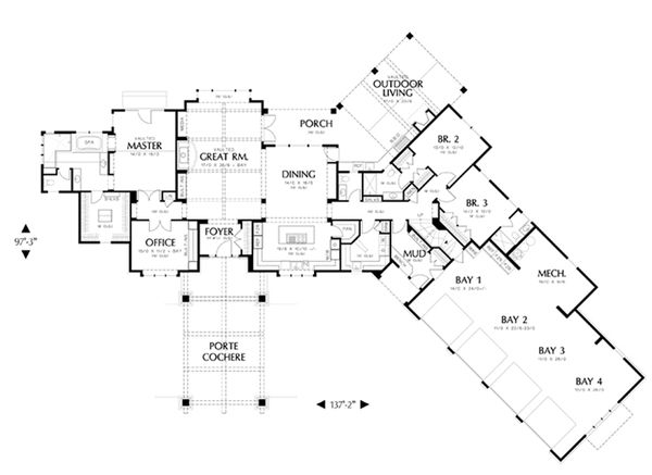 Craftsman Floor Plan - Main Floor Plan Plan #48-465