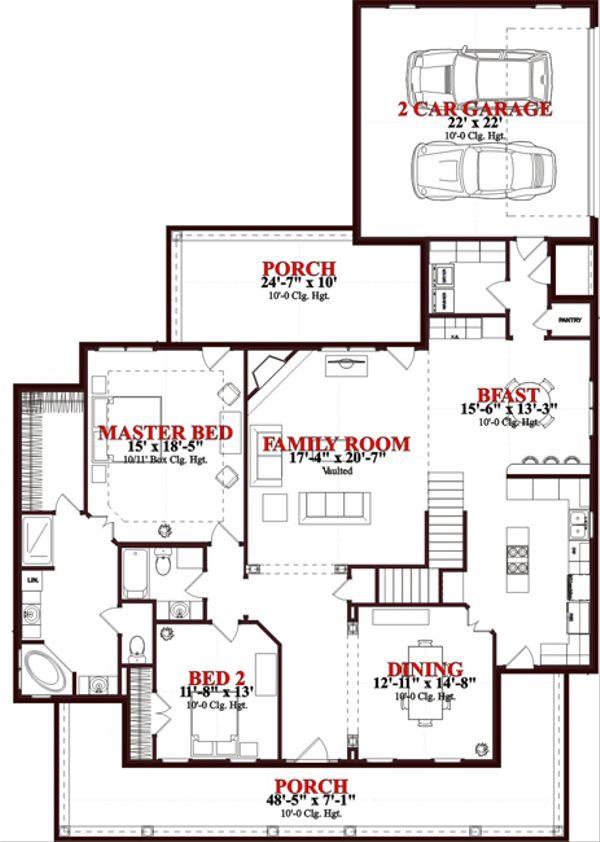 Traditional Floor Plan - Main Floor Plan Plan #63-274