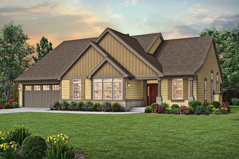Craftsman Style House Plan - 3 Beds 3 Baths 2193 Sq/Ft Plan #48-957 Exterior - Front Elevation