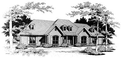 European Style House Plan - 3 Beds 2.5 Baths 2714 Sq/Ft Plan #10-213 Exterior - Front Elevation