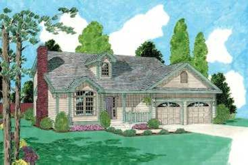 Traditional Style House Plan - 3 Beds 2.5 Baths 1701 Sq/Ft Plan #75-133 Exterior - Front Elevation