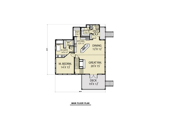 Contemporary Floor Plan - Main Floor Plan Plan #1070-62