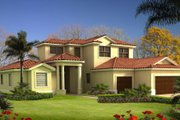 Mediterranean Style House Plan - 4 Beds 3 Baths 2543 Sq/Ft Plan #420-226 Exterior - Front Elevation