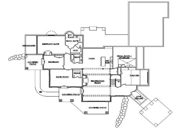 House Plan Design - European Floor Plan - Lower Floor Plan #5-343
