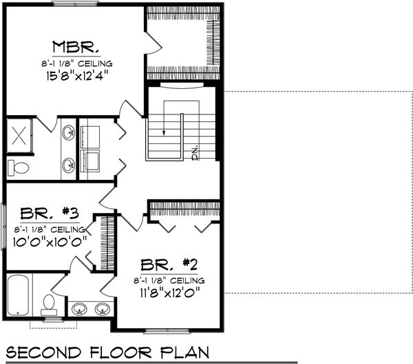 Traditional Floor Plan - Upper Floor Plan Plan #70-1068