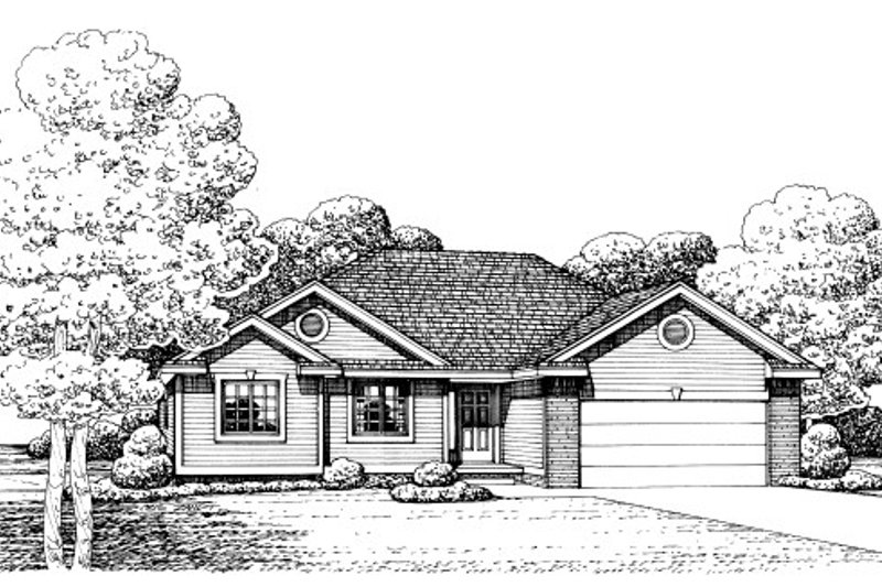 Traditional Style House Plan - 3 Beds 2 Baths 1466 Sq/Ft Plan #20-2050 Exterior - Front Elevation