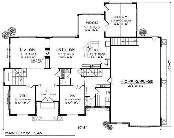 European Floor Plan - Main Floor Plan Plan #70-888