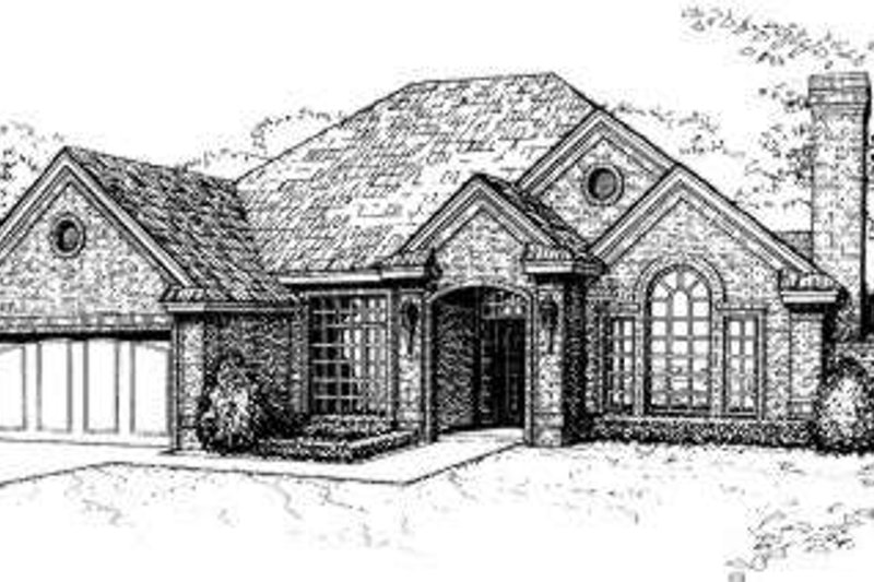 European Style House Plan - 3 Beds 2 Baths 1639 Sq/Ft Plan #310-110 Exterior - Front Elevation