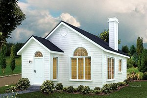 Cottage Exterior - Front Elevation Plan #57-495