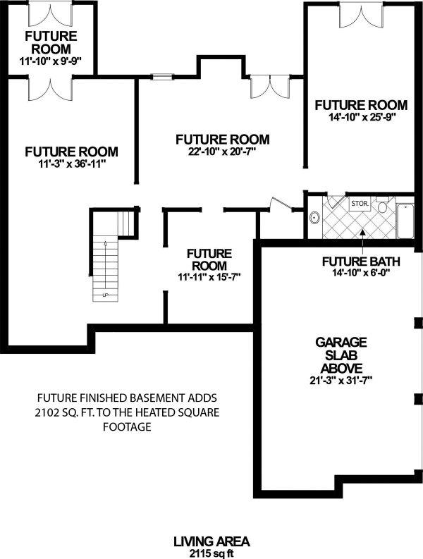 Craftsman Floor Plan - Lower Floor Plan #56-719