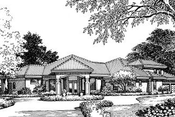 European Exterior - Front Elevation Plan #417-374