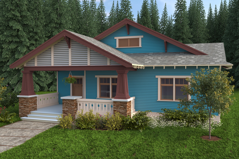 Craftsman Style House Plan - 3 Beds 2.5 Baths 1833 Sq/Ft Plan #434-4 Exterior - Front Elevation