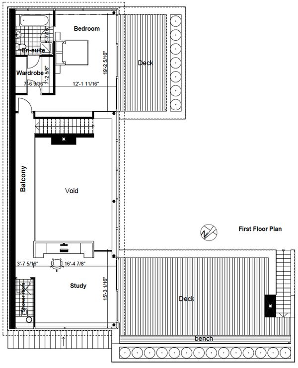 Exclusive Modern style House plan designed by Frank McGahon, upper level floor plan